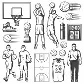 Basketball Sport Game Icons, Players And Equipment. Vector Isolated Basketball Ball And Net, Champio poster