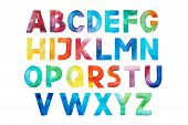 Colorful Watercolor Aquarelle Font Type Handwritten Hand Draw Abc Alphabet Letters. poster