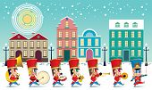 A Marching Cute Brass Band With Various Kind Of Instruments. With Snowing Day Time Street Scene. poster
