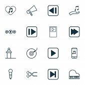 Music Icons Set With Piano, Mike, Previous Music And Other Skip Song Elements. Isolated Vector Illus poster