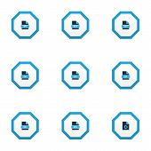 Document Icons Colored Set With File Rtf, Text, File Mp3 And Other Archive Elements. Isolated Vector poster