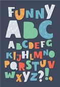 Vector Cartoon Illustration Of English Alphabet. Funny Letters In Different Colors. Abc Had Drawn Le poster
