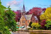 Bruges (Brugge), Belgium. Minnewater lake of love in picturesque park. Traditional ancient medieval  poster