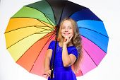 Colorful Accessory For Cheerful Mood. Stay Positive Fall Season. Girl Child Ready Meet Fall Weather  poster
