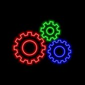 Cogwheel Arrow Neon Sign. Bright Glowing Symbol On A Black Background. Neon Style Icon. poster