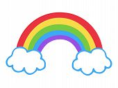 Colorful Rainbow Icon, Vector Illustration Doodle Drawing. Cartoon Rainbow With Two Clouds. poster