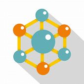 Colorful Chemical And Physical Atoms Molecules Icon. Flat Illustration Of Colorful Chemical And Phys poster