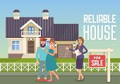 Reliable House. House For Sale. Woman Broker And Home Sales. Real Estate Agency Concept. Estate Agen poster