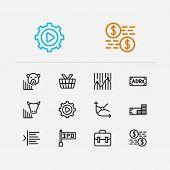 Finance Trading Icons Set. Portfolio And Finance Trading Icons With Bear Market, Trading Volume And  poster