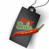 Hot Offer Card With Hot Pepper Chili And Realistic Black Tag. Sign Hot Offer Illustration Background poster