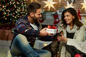 Christmas couple at home in Winter. Happy young couple sitting on floor at home with dog and gift bo poster