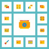 Set Of Website Icons Flat Style Symbols With Shop Page, Website Video, Website Optimization And Othe poster