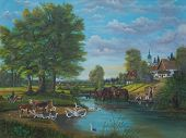 Oil Painting - A Painting Of Life At The River At The Edge Of A Community poster