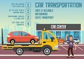 Car Transportation And Transporter Service Concept. Roadside Assistance And Emergency Services Set.  poster