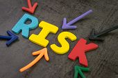 Business Or Investment Risk, Result In Uncertainty, Unpredictable Situation Concept, Colorful Arrows poster