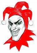 Evil Joker Character In Red Hood. Ink Illustration poster