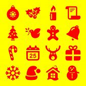 Christmas Icons. Xmas And Winter Vector Illustration. Christmas Celebration Icons In Outline Style.  poster
