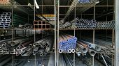 Steel Pipes Profile Stack. New Square Metal Pipes In Stock. Stack Of Steel, Steel Material. Steel Wa poster