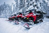 Group Of Four Brightly Colored Red And Black Snowmobiles Are Ready For Adventure Ride. Vehicles Park poster