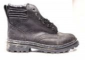 Black Safety Shoe On White Background, Safety Shoes For Workers Wearing A Personal Protective Equipm poster