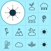 Harmony Icons Set With Overcast, Sprout, Sunshine And Other Sunshine Elements. Isolated  Illustratio poster