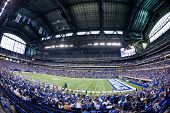 INDIANAPOLIS, IN - SEPT 2: Fisheye view of Lucas Oil Stadium during preseason football game between