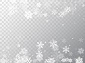 Winter Snowflakes Border Trendy Vector Background.  Macro Snowflakes Flying Border Illustration, Car poster