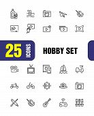 Hobby Icons. Set Of Line Icons. Webinar, Music, Art. Hobby Concept. Vector Illustration Can Be Used  poster