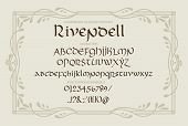 Blackletter Gothic Uncial Hand-drawn Font. Decorative Vintage Magic Styled Letters. Rivendell Vector poster