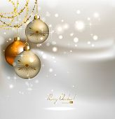 elegant  glimmered Christmas background with shine evening balls poster
