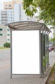 picture of bus-shelter  - Blank billboard on bus stop for your advertising - JPG
