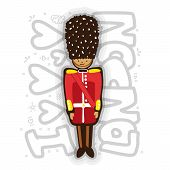 Uk Buckingham Palace Queen Guard In Uniform Cartoon Illustration. London Guard Fun Illustration With poster