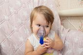 Sick Baby Girl Use Nebulizer Mask For Inhalation, Respiratory Procedure By Pneumonia Or Cough For Ch poster