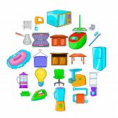 Apartment Icons Set. Cartoon Set Of 25 Apartment Vector Icons For Web Isolated On White Background poster