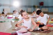 Young Dancers In The Ballet Studio. Young Dancers Perform Gymnastic Exercises During A Warm-up In Th poster