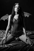 Girl Sexy Demon With Wings, Devil Full Of Desire. Lady Sexi Dressed As Demon, Devil, Black Backgroun poster