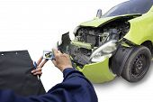 Car Of Accident On Road Make Damaged At Claim The Insurance Company. Working Car Repair Inspection A poster