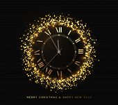 New Year Shiny Gold Clock, Five Minutes To Midnight. Merry Christmas poster