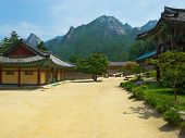 foto of seoraksan  - The yard of Buddhist Sinheungsa Temple in Seoraksan National Park - JPG