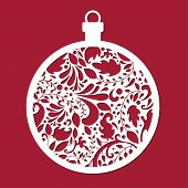 Christmas Ball. Cut Template. Template For Christmas Cards, Invitations For Christmas Party. Image S poster