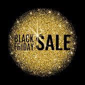 Black Friday Sale Banner. Black Friday Sale Poster With Gold Round Shape On Dark Background. Shop No poster