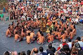 BALI, INDONESIA - OCTOBER 25: Unidentified dancers participate in a Balinese Kecak dance also known