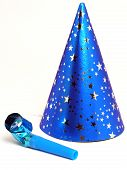 stock photo of birthday hat  - blue party hat and noisemaker - JPG