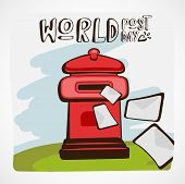 Words Post Day Vector Illustration. Red Mail Box With Letters Flying In Or Away On Green Grass And B poster