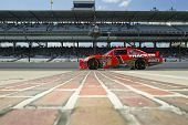 INDIANAPOLIS, IN - JULY 23:  Jamie McMurray brings his Bass Pro Shops Chevrolet down pit road for th