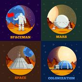 Planet Colonization Flat Design Concept With Astronaut During Space Expedition And Station On Mars I poster