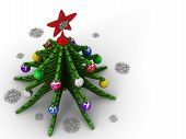 Christmas Tree Is A Symbol Of Christmas And New Year. Christmas Tree, Christmas Toys And Snowflakes  poster