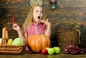 Celebrate Harvest Festival. Kid Girl Fresh Vegetables Harvest Rustic Style. Fall Harvest Holiday. Ch poster