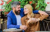 Find And Date Businessman. Couple In Love Sit Cafe Terrace Enjoy Coffee. Girl Dating With Businessma poster