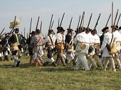 stock photo of revolutionary war  - American Troops head off to battle during Revolutionary War - JPG